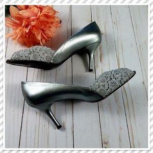 STUART WEITZMAN Metallic Chantelle Peep-Toe Heels